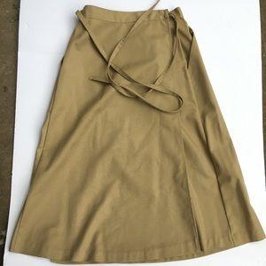 Vintage khaki wrap around skirt sz 9/10